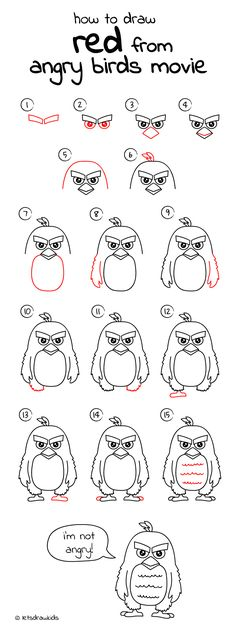 How to draw Red from Angry Birds Movie. Easy drawing, step by step, perfect for kids! Let's draw kids. http://letsdrawkids.com/