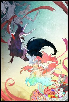 A full color image of Marceline the Vampire Queen and Princess Bubblegum kissing. This is so absolutely amazing and whoever did this I absolutely adore you. Life Is Strange, Adveture Time, Marceline And Princess Bubblegum, Adventure Time Anime, Adventure Time Stuff, Adventure Time Princesses, Vampire Queen, Jake The Dogs, Fanart