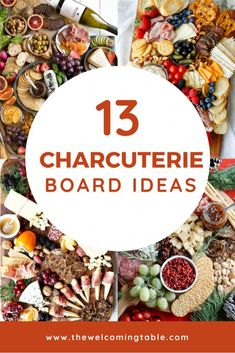 13 Charcuterie Board Ideas for Easy Entertaining If you re looking for charcuterie board ideas you ve got to check out these 13 themed charcuterie boards They are an easy way to up your hostessing game thewelcomingtable charcuterie charcuterieandcheese Charcuterie Recipes, Charcuterie And Cheese Board, Charcuterie Platter, Cheese Boards, Meat Cheese Platters, Antipasto Platter, Wine Cheese, Appetizers For A Crowd, Thanksgiving Appetizers