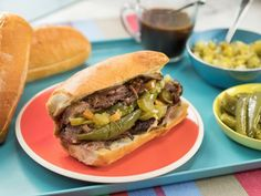 """Chicago-Style Italian Beef Sandwich (Munch Madness) - Jeff Mauro, """"The Kitchen"""" on the Food Network. Beef Recipes, Cooking Recipes, Italian Recipes, Game Recipes, Italian Cooking, Meatloaf Recipes, Italian Dishes, Copycat Recipes, Drink Recipes"""