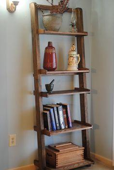 Ladder bookshelf / display shelf by jlswoodwork on Etsy, $184.00 plus 35 shipping.  for yr bathroom?