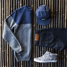 """""""Peep today's International Outfit Grid with origins spanning from Germany to Brazil (5 panel-Wemoto-DE, Sweater-Cityfellaz-DK, Denim-Less-TW, Sneakers-…"""""""