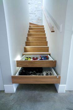 Trendy home furniture design tiny house ideas Diy Shoe Storage, Stair Storage, Storage Design, Bedroom Storage, Storage Ideas, Storage Solutions, Stair Drawers, Closet Storage, Basement Storage
