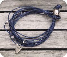 bracelet cordon multi-rangs et perles { Le coccole creative }