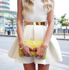 metallic belt + white dress