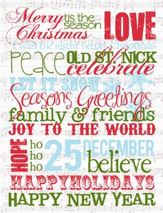 This Christmas Subway Art is so much fun to frame and add a banner on the top. The subway art words get you in that Christmas mood. Christmas Subway Art, Christmas Quotes, Christmas Images, Christmas Crafts, Christmas Ideas, Holiday Sayings, Christmas Poster, Homemade Christmas, Holiday Ideas