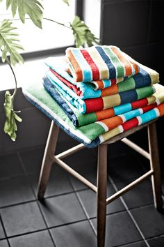 Early mornings can be happy mornings with soft, colorful bath towels.