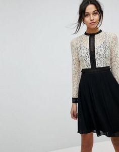 Little Mistress All Over Lace Top Dress With Prom Skater Skirt