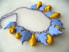 Vintage celluloid early plastic leaves & fruits necklace