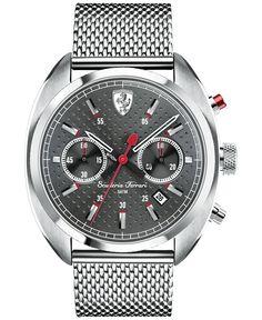 Scuderia Ferrari Men's Chronograph Formula Sportiva Stainless Steel Mesh Bracelet Watch 43mm 830214  #cars #wheels #tyres @alloywheels