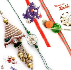 Picture of White Pearl Beads and stone work Family Rakhi Set
