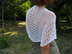 COTTON SHRUG ....Elegant Hand Knitted Summer Shrug in by Rumina