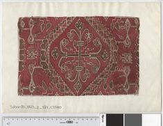 Oseberg Findings from folder 'Oseberg, textile - textile fragment No. 5': reconstruction of textile fragment 5 (?) Watercolor of MS.65 (Mary Storm) 1965. Dimensions: W 37 cm, H: 25 cm.