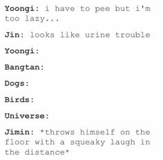 Jimin is the only one who laughs about Jin's Dad-Jokes