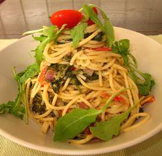 Spaghetti mit Cocktailtomaten und Spinat, Mittagessen bei Frau Schulz