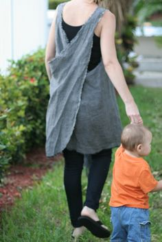 Gray Linen Pinafore by RetroHome on Etsy