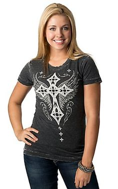Affliction® Women's Charcoal Grey with White Winged Cross and Fleur Short Sleeve Tee | Cavender's Boot City