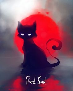 Red Sun Art Print by apofiss - X-Small Pet Anime, Anime Animals, Black Cat Art, Black Cats, Black Kitty, Warrior Cats Art, Red Sun, Sun Art, Cat Drawing