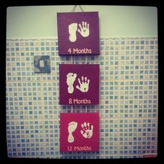 Baby foot and hand print - Use 3 square canvases or just one big one, paint colours you want and use white non toxic acrylic paint to print your babies foot and hand.