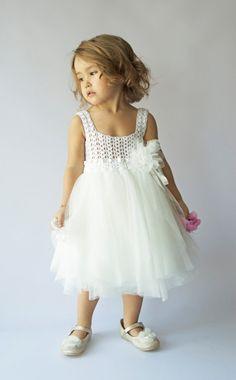 Off White Tulle robe bébé avec une robe taille Empire et