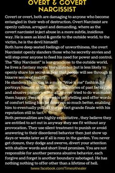 .Covert narcissists are the worst. To the outside world they seem, easy going,self confident, so kind and thoughtful! They are good with words. They will tickle your ears with flattery. Their words however never match their actions. They are sneaky and calculating. On a one to one basis their true colors come out when no witnesses are left watching!
