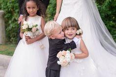 cute flower girl and ring bearer, flower girl posie from romantic white and gold ritz carlton tysons virginia wedding