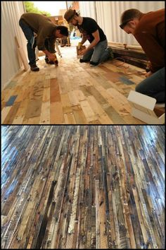pallet flooring Have a look at this collection of timber flooring made from recycled pallets! Wood Pallet Flooring, Pallet Ceiling, Timber Flooring, Diy Flooring, Cheap Flooring Ideas, Concrete Floors, Recycled Pallets, Wooden Pallets, Pallet Benches