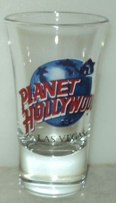 Planet Hollywood Tall Shot Glass Las Vegas Globe Earth Shooter Bar Barware  - This Item is for sale at LB General Store http://stores.ebay.com/LB-General-Store ~Free Domestic Shipping