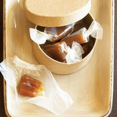 It's hard to stop at just one when you try these silky brown-sugar candies. Prep and Cook Time: about 1 1/2 hours, plus about 2 1/2 hours to chill. Notes: A square disposable aluminum baking pan is ideal for this recipe because you can bend its sides to release the caramel. Since the pan is so flexible, place a baking sheet underneath it for stability. Make wrappers for the caramels by cutting waxed paper into roughly 4 1/4- by 5 1/4-in. pieces (measure the first few and eyeball the…