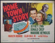 """Home Town Story"" - Jeffrey Lynn, Donald Crisp, Marjorie Reynolds, Marilyn Monroe and Alan Hale Jr. US Title Lobby Card, 1951."