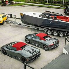 Lamborghini, Audi and boat all matching. Aston Martin, Bentley Continental Gt, Audi Cars, Sweet Cars, Amazing Cars, Awesome, Hot Cars, Concept Cars, Corvette