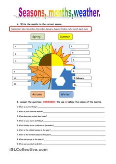 Vocabulary worksheet containing WEATHER words and the SEASONS. It has two sections: Match words and pictures (matching exercise) and Write the Words (reading & spelling exercise). Seasons Worksheets, Weather Worksheets, Science Worksheets, Reading Worksheets, Vocabulary Worksheets, School Worksheets, English Vocabulary, English Grammar, Teaching English