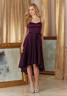 Satin Bridesmaid Dress Designed by Madeline Gardner. Matching tie sash included.