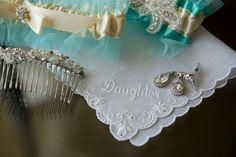 Tiffany blue, white, and crystal wedding - hair piece, earrings, garters, and handkerchief