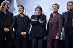 My favourite band Journey ❤they're overjoyed to see each other again Inducted at ROCK AND ROLL HALL OF FAME April 7,2017.