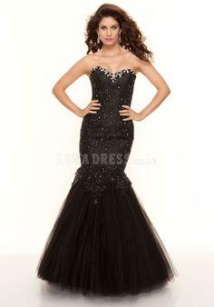 Dropped Mermaid Sweetheart Sleeveless Tulle Dramatic Prom Dresses