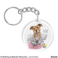 Pit Bull Dog in Bathrobe Watercolor Painting Keychain by NamiBear on zazzle.com