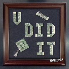 Beautiful Handcrafted Dollar Origami  U DID IT by VincentTheArtist, $24.95