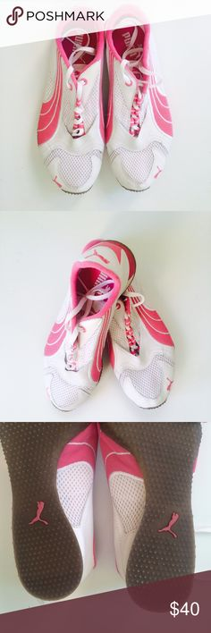 15c406ff490 PUMA pink and white sneakers. Pink and white women s sneakers with mesh  detailing. Size