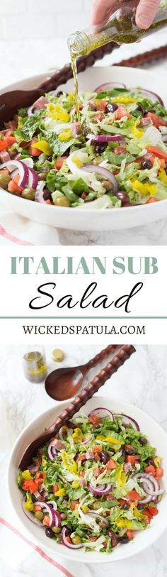 Italian Sub Salad - This salad is just like your favorite sub sandwich but totally healthy gluten free and Paleo! Italian Sub Salad - This salad is just like your favorite sub sandwich but totally healthy gluten free and Paleo! Paleo Recipes, Low Carb Recipes, Cooking Recipes, Free Recipes, Recipes Dinner, Potato Recipes, Crockpot Recipes, Soup Recipes, Breakfast Recipes