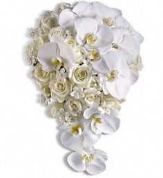 orchids, fragrant stephanotis and classic white roses.