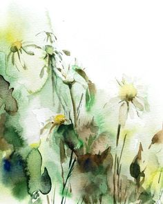 Daisy Flowers - Watercolor Painting Art Print 8x10'' - Watercolour Art - Floral Painting - Abstract - Modern - Green - Wall Art