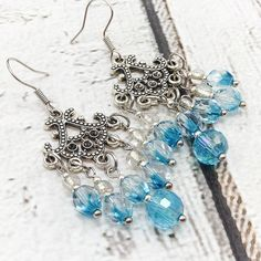 Teal chandelier earrings victorian long dangle earrings teal dangle waterfall earrings peacock blue czech crystals disco ball blue crystals silver seed mozeypictures Images