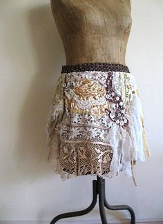 RESERVED Bohemian Gypsy, Skirt, Mini, Wrap, Overskirt, Cream, Gold, Vintage Lace, Belly Dance, via Etsy.