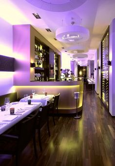 Designing a Restaurant Interior with Colorful Lighting - Romantic