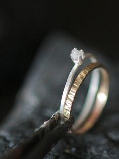 White Rough Diamond Ring Ready to ship size 6. $85.00, via Etsy.