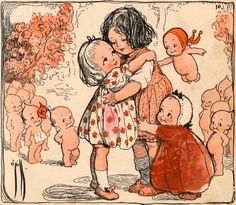 Illustration of Girls and Kewpie Dolls Hugging by Rose O'Neill A book…