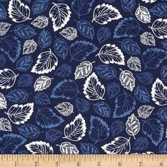 French Navy Tossed Leaves Navy from @fabricdotcom  Designed by Studio 8 for Quilting Treasures, this cotton print fabric is perfect for quilting, apparel and home decor accents. Colors include shades of blue and white.