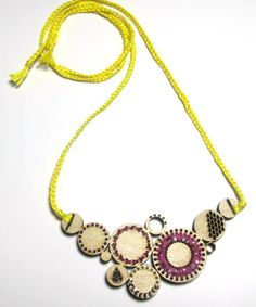Yellow Embroidered Maple Bib Necklace