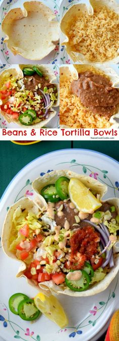 Perfect healthy and delicious meal ready in under an hour!) Beans & Rice Tortilla Bowls are filled with fresh homemade refried beans, taco seasoned rice, chipotle salsa, spicy ranch & fresh veggies! Veggie Recipes, Mexican Food Recipes, Vegetarian Recipes, Dinner Recipes, Cooking Recipes, Healthy Recipes, Meatless Dinner Ideas, Delicious Recipes, Meatless Monday